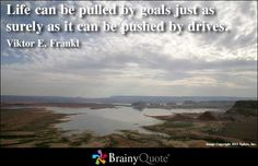 Life can be pulled by goals just as surely as it can be pushed by drives.   Viktor E. Frankl