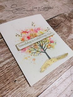 Wildcard Wednesday – Brusho and Sheltering Tree Card | SuNN Stampin'