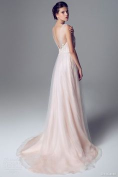 e69564af2d3a9 blumarine 2014 bridal pink wedding dress gathered straps train ピンクのウェディングドレス