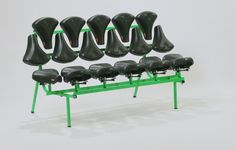 If one bicycle seat is kind of uncomfortable (at least for us fatties), how about 22 of them? Here's Jeremy Petrus' Mishmash bench, made from Selle Royal's bicycle seats: Link - via Bicycle Seats, Bicycle Art, Blue Velvet Chairs, Bench Designs, Take A Seat, Repurposed, Upcycle, Modern Design, Furniture