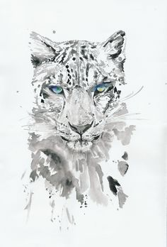 Original Watercolor Painting of white leopard