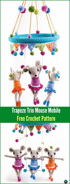 Crochet Trapeze Trio Mouse Mobile Amigurumi Free Pattern - Amigurumi Crochet Mouse Toy Softies Free Patterns