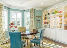 """House of Turquoise: Schell Brothers Sherwin-Williams """"Watery"""" Home Office Design, Home Office Decor, Diy Home Decor, Cozy Office, Home Interior, Interior Decorating, Interior Design, Decorating Ideas, Beach Houses For Rent"""