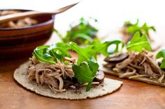 Barbecued Chicken and Mushroom Tostadas