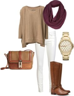 GIVE ME HTIS OUTFIT idk if i could actually ever wear white jeans but this is a super cute combo and i love the maroon infinity scarf thrown in for color:p Fall Winter Outfits, Autumn Winter Fashion, Fall Fashion, Looks Style, Style Me, Casual Outfits, Fashion Outfits, Womens Fashion, Petite Fashion
