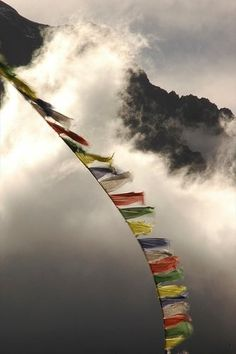 "Tibetan ""Prayer Flags are part of the ancient Buddhist tradition. It is believed that the prayers on the flags are lifted and spread throughout the universe . The wind spreads the prayers through the world, extending happiness, good will, and peace. Buddha, Dalai Lama, Voyage Nepal, Namaste, Zen, Buddhist Traditions, Meditation, Tibetan Buddhism, Tibetan Art"