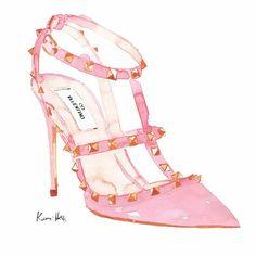 Kerri Hess watercolor - Valentino rock stud heel in pink