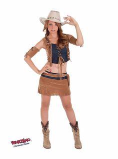 Sexy Outfit ob als Cowgirl oder Westernbraut, kurz, knackig amourös.  Das Kostüm besteht aus Rock, Oberteil, Gürtel und Armschonern.