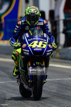 Valentino Rossi of Movistar Yamaha MotoGP with his bike during the Moto GP of Catalunya at Circuit de Catalunya on June 9, 2017 in Montmelo, Spain.
