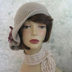 Crochet Pattern Womens Hat Flapper Style Hat With Pleats And Bow Trim  Instant Download  crochetdressesforwomen 038607940131