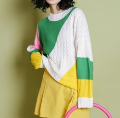 Color block sweater for girls crew neck knit sweaters