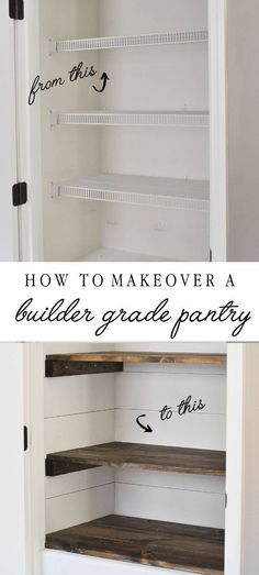 How to makeover a builder grade pantry into a farmhouse style pantry with shiplap walls and custom wood stained shelves. How to makeover a builder grade pantry into a farmhouse style pantry with shiplap walls and custom wood stained shelves. Pantry Makeover, Home Upgrades, Home Renovations, Home Remodeling Diy, Organizing Ideas, Home Organization, Diy Casa, Style Pantry, Diy Holz