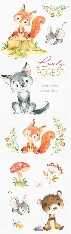 Lovely Forest. Little animals clip art watercolor wolf