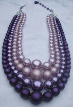 purple necklace - ombre beads
