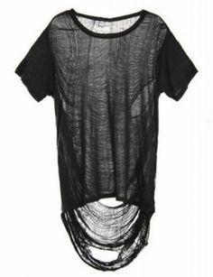 LOUCH Black Torn Tee Shirt
