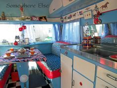 Vintage red, white and blue, caravan interior