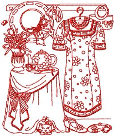 Redwork design by odessa Hand Embroidery Patterns, Embroidery Art, Cross Stitch Embroidery, Machine Embroidery, Embroidery Designs, Wood Burning Patterns, Embroidery Techniques, Machine Quilting, Needlework
