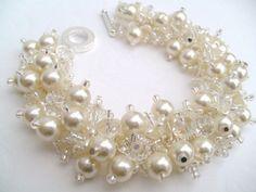 Bridal Jewelry Wedding Pearl Bridesmaid Bracelet by KIMMSMITH, $22.00