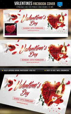 Valentines Day Facebook Cover Template PSD #design Download: http://graphicriver.net/item/valentines-day-facebook-cover/14351245?ref=ksioks