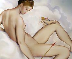 """El despliegue preciosista que apreciamos en la """"Venus y Cupido"""" de Lambert Sustris, pintor afín al colorismo de la escuela veneciana, queda drásticamente neutralizado en el lienzo de Nani Serrano inspirado en aquella pintura renacentista, pero sin perder la escena un ápice de la sensualidad original. Nani prescinde de la figura de Marte y minimiza a Eros reduciéndo a la escala de un juguete, aspecto que confiere al Amor la veleidad de un juego de azar, desproveyéndolo así del fatalismo del…"""