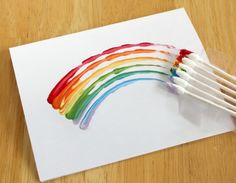 q-tip rainbow painting for kids Preschool Crafts, Crafts For Kids, Arts And Crafts, Preschool Christmas, Free Preschool, Painting For Kids, Art For Kids, Projects For Kids, Art Projects
