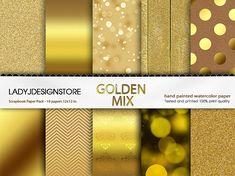 Gold Mix Bokeh Glitter Wood Foil Chevron by ladyjdesignstore, $3.50