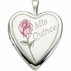 """Sterling Silver Mis Quince Años Rose Heart Locket Necklace, 18"""" The Men's Jewelry Store. $92.88. Heart Locket Measures 20.50mm High X 19.25mm Wide. Beautifully Engraved Mis Qunice Heart-Shaped Locket with Diamond Cut Edging and a Gorgeous Pink Flower. Hypoallergenic, Contains No Nickel. Sterling Silver Heart Locket is .81 Inhces High by .76 Inches (4/5"""" Tall x 3/4"""" Wide). Shimmering 1.25 mm Solid Rope Chain"""
