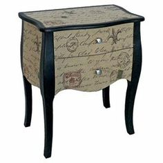Two-drawer accent chest with a carte postale motif.    Product: Accent chest    Construction Material: Wood    Color: Black and multi   Features:   Two drawers    Carte postal motif    Will enhance any dcor   Dimensions: 27 H x 23 W x 14.72 D