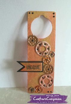 Door Hanger using Crafter's Companion Mixed Media Die - Cogs in Motion. Designed by Angela Clerehugh #crafterscompanion