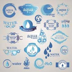 Water logos creative design vector 01 Label Design, Icon Design, Packaging Design, Branding Design, Water Branding, Logo Branding, Creative Logo, Creative Design, Laundry Logo
