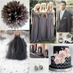 Charcoal Wedding- I like the bridesmaid dresses. Grey Wedding Theme, Wedding Color Schemes, Wedding Themes, Wedding Colors, Wedding Styles, Our Wedding, Dream Wedding, Wedding Stuff, Bridesmaid Flowers