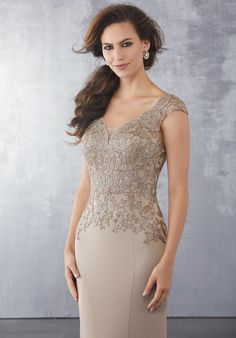 Shop Morilee's Crepe Social Occasion Dress with Beaded Lace Appliqués and Net Godet. Beaded Lace Appliqués on Silky Crepe with Net Godet. Desi Wedding Dresses, Prom Dresses, Wedding Outfits, Prom Boutiques, Mother Of The Bride Dresses Long, Pageant Gowns, Groom Dress, Your Turn, Beaded Lace