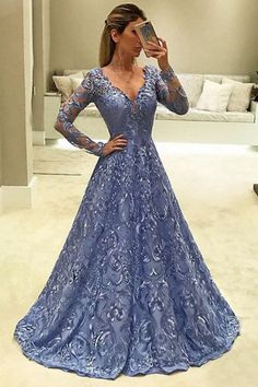 A-Line Prom Dresses,V-Neck Prom Gown,Long Sleeves Prom Dress,Blue Prom Dresses,Long Evening Dress,Lace Prom Dress M1824