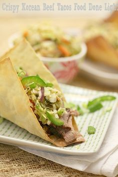 Now this is a taco! Crispy Korean Beef Tacos - Low Calorie, Low Fat Healthy Dinner Recipe