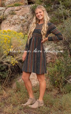 The Zara – Mountain Aire Boutique Grey Stripes, Boutique Clothing, Zara, Short Sleeve Dresses, Bohemian, Casual, Cute, Fabric, How To Wear