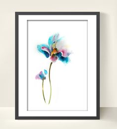 Flower Art Print of Original Watercolor by CanotStopPrints on Etsy, $12.00