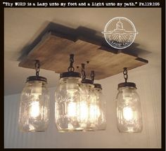 Mason Jar CEILING LIGHT with Reclaimed Wood $195 One of our latest designs.