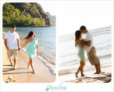 Ke'e Beach Kauai Hawaii Beautiful Hawaii beach photography Engagement photography, engagement photo shoots. Beautiful couple. Engagement photo outfits