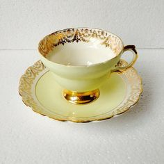 Yellow and gold tea cup and saucer set - English fine bone china by Balfour