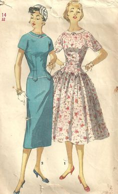 Simplicity 1445 Vintage 50s Sewing Pattern Dress Size 14