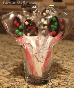 Chocolate dipped spoons, perfect for Holiday hot chocolate or coffee bar