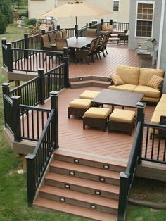 Two level deck. •White LED Lights for stairs. •White Stair Railing