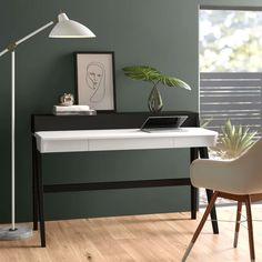 Eichelberger Desk with Hutch Contemporary Desk, Modern Desk, All Modern, White Desk Office, White Desks, Wall Mounted Desk, Floating Desk, Adjustable Height Desk, Desk Hutch