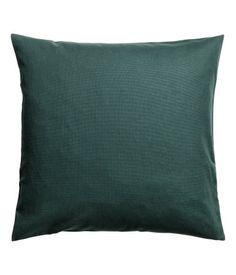 Kuddfodral i bomullscanvas | Mörkgrön | H&M HOME | H&M SE