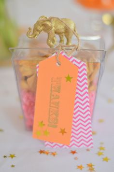 luxe circus baby shower favor, complete with gold circus animal, chevron party theme, pink and orange party theme, luxe circus party theme