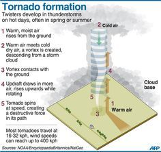 Tornado Formation: must have vertical wind direction shear, so surface winds may be southerly and a km or so above it they may be northerly; must also have vertical wind speed shear as the wind speed increases rapidly w/ height; causes the air near the surface to rotate about a horizontal axis (vortex tubes: horizontal tubes of spinning air); they also form when a southerly low-level jet exists just above southerly surface winds Science Activities For Kids, Science Lessons, Science Experiments, Science Project Board, Science Fair Projects Boards, Tornado Formation, La Formation, Weather Science, Weather Unit