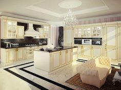 Cucina componibile laccata in legno con isola Collezione Michelangelo by Oikos…