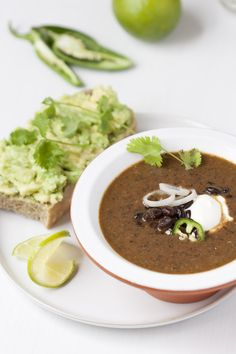 Spicy Black Bean Soup with Avocado Tartine.