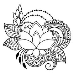 Art & Inspiration & Tattoos ♡ Embroidery Flower Patterns Mehndi flower pattern for Henna drawing and tattoo. Decoration in ethnic oriental, Indian style. Henna Drawings, Zentangle Drawings, Mandala Drawing, Mandala Art, Mehndi Drawing, Henna Designs Easy, Henna Tattoo Designs, Mehndi Designs, Embroidery Flowers Pattern