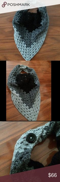 Scarf HANDMADE Granny Scarf. Beautiful scarf in colors: black, dark grey, heather grey. Scarf is Double stranded, providing warmth. Thick. Button closure. Questions, ask below Price is based on: stitch difficulty, amount of yarn used, price of yarn, and time to complete. Questions, ask below.   NO TRADES NO HOLDS NO NEGATIVITY NO LOW BLOWS, will be DECLINED Crystals Creations  Accessories Scarves & Wraps